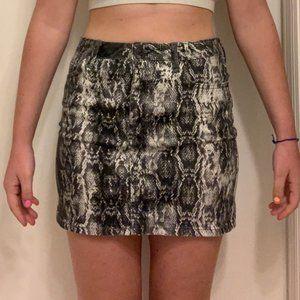 snakeskin denim skirt